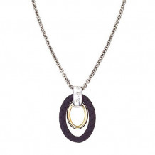 Alisa 18k Two Tone Gold and Ruthenium Oval Diamond Pendant