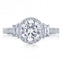 Tacori Platinum Dantela 3 Stone Halo Engagement Ring - 2663RD75