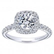 Gabriel & Co 14k White Gold Round Halo Engagement Ring