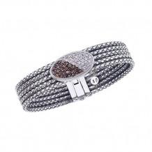 Alisa Sterling Silver Diamond Multi-Row Bangle Bracelet