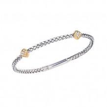 Alisa Sterling Silver & 18k Yellow Gold Diamond Braided Bangle Bracelet