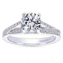 Gabriel & Co 14k White Gold Round Split Shank Engagement Ring