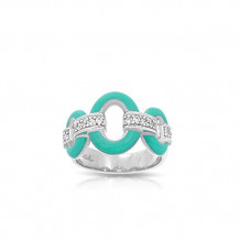 Belle Etoile Connection Aqua Enamel and CZ Ring