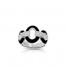 Belle Etoile Connection Black Enamel and CZ Ring