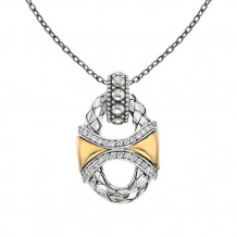 Alisa 18k Two Tone Gold and Sterling Silver Crossover Basketweave Diamond Pendant