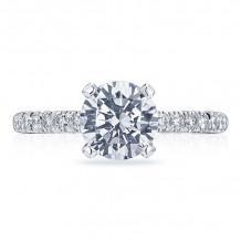 Tacori 18k White Gold Petite Crescent Straight Diamond Engagement Ring - HT2545RD75W