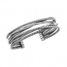 Alisa Sterling Silver Diamond Cuff Bangle Bracelet