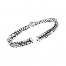 Alisa Sterling Silver Diamond Crossover Cuff Bracelet