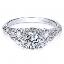 Gabriel & Co. 14k White Gold Round Halo Engagement Ring