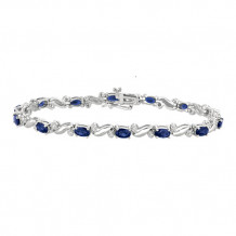Jewelmi Custom 14k White Gold Diamond Sapphire Bracelet