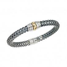 Alisa Wide Alisa 18k Two Tone Gold and Sterling Silver Braid Bangle Bracelet