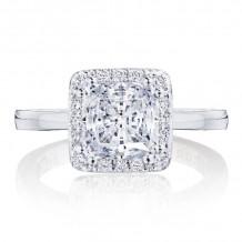 Tacori 14k White Gold Coastal Crescent Halo Diamond Engagement Ring - p1012pr7fw