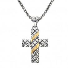 Alisa Sterling Silver Basketweave Cross Pendant