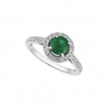 Jewelmi Custom 14k White Gold Emerald Diamond Engagement Ring