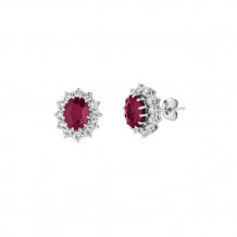 Jewelmi Custom 14k White Gold Ruby Diamond Earrings