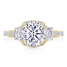 Tacori 18k Yellow Gold Dantela 3 Stone Halo Engagement Ring - 2663CU8Y