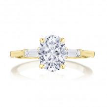 Tacori 18k Yellow Gold Simply Tacori 3 Stone Diamond Engagement Ring - 2669OV85X65Y