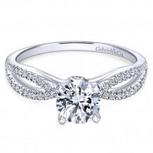 Gabriel & Co. 14k White Gold Split Shank Diamond Engagement Ring