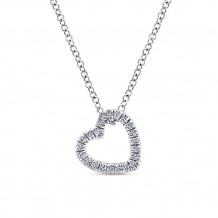 Gabriel & Co. 14k White Gold Heart Shaped Diamond Necklace