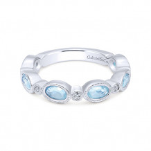 Gabriel & Co. 14k White Gold Diamond Stackable Ladies' Ring