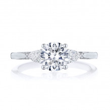 Tacori 18k White Gold Simply Tacori 3 Stone Diamond Engagement Ring - 2668RD65W