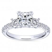 Gabriel & Co 14k White Gold Princess Cut 3 Stones Engagement Ring